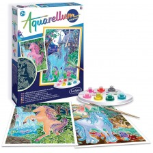 Комплект за оцветяване с акварелни бои Sentosphere Aquarellum Phospho - Еднорози -1