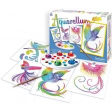 Комплект за оцветяване с акварелни бои Sentosphere Aquarellum Junior - Райски птици -1