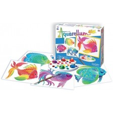 Комплект за оцветяване с акварелни бои Sentosphere Aquarellum Junior - Риби -1