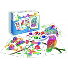 Комплект за оцветяване с акварелни бои Sentosphere Aquarellum Junior - Птици -1