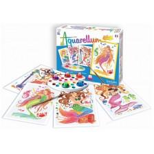 Комплект за оцветяване с акварелни бои Sentosphere Aquarellum Junior - Русалки -1