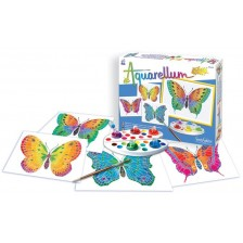 Комплект за оцветяване с акварелни бои Sentosphere Aquarellum Junior - Пеперуди -1