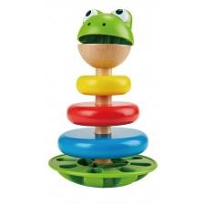 Дървена играчка за подреждане Hape - Жабка, с рингове и дрънкалка -1