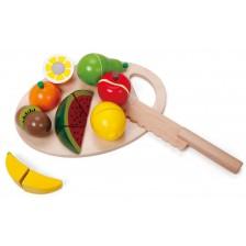 Детски комплект за рязане Classic World - Плодове, от дърво