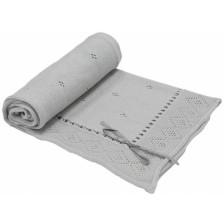 Бебешко одеяло с панделка EKO - Сиво, 80 х 70 cm -1