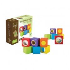 Дървена игра Jouéco - Активни сензорни кубчета, 6 кубчета