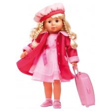 Пееща и говореща кукла Bayer - Мария, 46 cm, с куфарче и розово палто -1