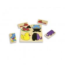 Детски дървен пъзел Andreu Toys - Забавни сенки -1