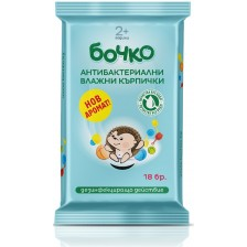Антибактериални мокри кърпички Бочко, 18 броя -1