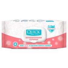 Антибактериални мокри кърпички Quickline, 72 броя, с капак, розови -1
