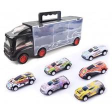 Игрален комплект Ocie - Автовоз Container Truck с 6 колички -1