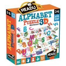 Образователен пъзел Headu Montessori - Азбука, 3D -1