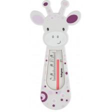Термометър за баня Babyono - Бял жираф и лилави кръгчета -1
