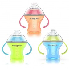 Babyono Неразливаща чаша с мек накрайник Natural 180 мл. Цвят Син