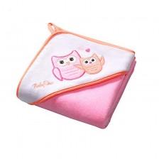 Кърпа за баня с качулка Babyono, розова -1