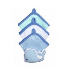 Хавлиена тривка за баня с гъба Babyono 3 броя, синя, 149 -1