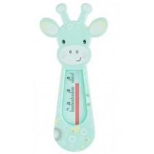 Термометър за баня Babyono - Зелен жираф и бели кръгчета -1