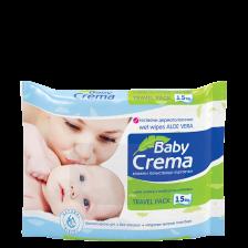 Мокри кърпички Baby Crema - Алое вера, 15 броя -1