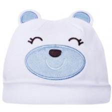 Бебешка шапка Sevi Baby - размер 38, Мече, синя -1