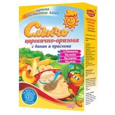 Безмлечна био каша Слънчо - Царевично-оризова с банан и праскова 200 g -1