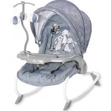 Бебешки шезлонг Lorelli - Dream Time, Silver Blue Rabbits -1