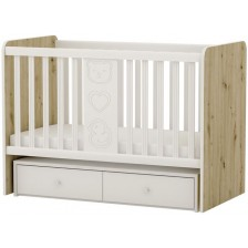 Бебешко легло-люлка Arbor - Рини Фън, дъб артизан и бяло -1