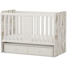 Бебешко легло-люлка Arbor - Рини Фън, кафяв антик и бяло -1