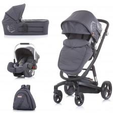 Бебешка количка Chipolino Електра - Черна рама, сребро -1