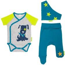 Бебешки комплект от 3 части Rach - Doggy, 62 cm, син -1