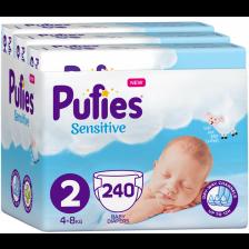 Бебешки пелени Pufies Sensitive 2, 240 броя -1