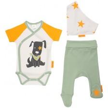 Бебешки комплект от 3 части Rach - Doggy, 62 cm, оранжев -1