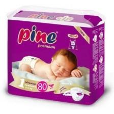 Бебешки пелени Pine - Newborn 1, 80 броя  -1