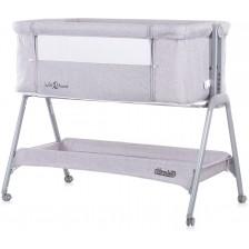 Бебешка кошара с подвижна стена Chipolino - Сладки сънища, сива -1