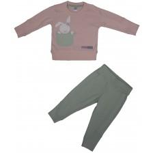 Бебешки комплект от 2 части Rach - Bunny Love, 80 cm, розов -1