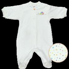 Бебешко гащеризонче с дълги ръкави For Babies - Цветно охлювче, лимитирано, 1-3 месеца -1
