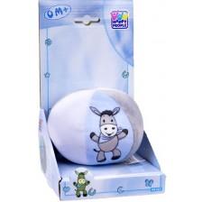 Бебешка топка със звънче Happy People - Магаренце, синя -1