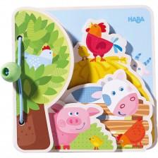 Бебешка дървена книжка Haba - Домашни животни -1