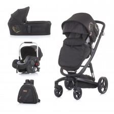 Бебешка количка Chipolino Електра - Черна рама, злато -1