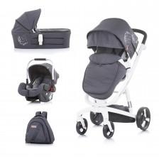 Бебешка количка Chipolino Електра - Бяла рама,  сребро -1