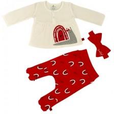 Бебешки комплект от 3 части Rach - Snail, червен, 56 cm  -1