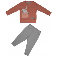 Бебешки комплект от 2 части Rach - Bunny Love, 80 cm, червен -1