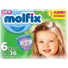Бебешки пелени Molfix - Extra Large 6, 36 броя  -1