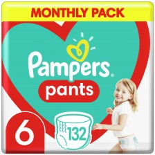 Бебешки пелени гащи Pampers 6, 132 броя -1