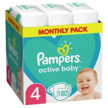 Бебешки пелени Pampers - Active Baby 4, 180броя