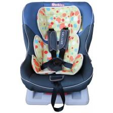 Детско столче за кола Bebino - Deluxe, синьо и цветни кръгове, до 18 kg -1