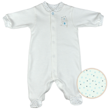 Бебешко гащеризонче с дълги ръкави For Babies - Мече, лимитирано, 1-3 месеца -1