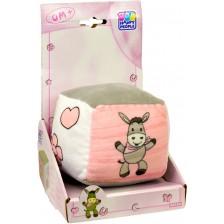 Бебешко кубче със звънче Happy People - Магаренце, розово -1