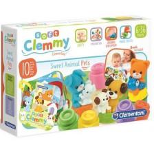 Бебешки конструктор Clementoni Soft - Домашни любимци с книжка, 10 части -1