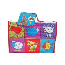 Бебешки играчки Galt - Меки кубчета, животни -1