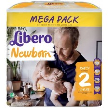 Бебешки пелени Libero - Newborn Mega 2, 108 броя